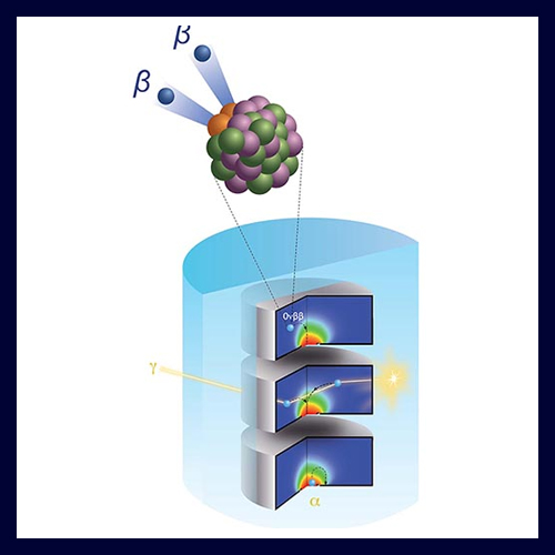 Detector array with enlargement of double-beta decay process